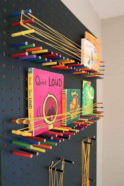 Diy Pegboard And Colored Pencils To Create A Fun Bookshelf In Kids Room
