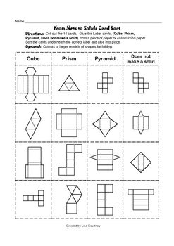Nets To Solids Card Sort Geometry Geometric Shapes
