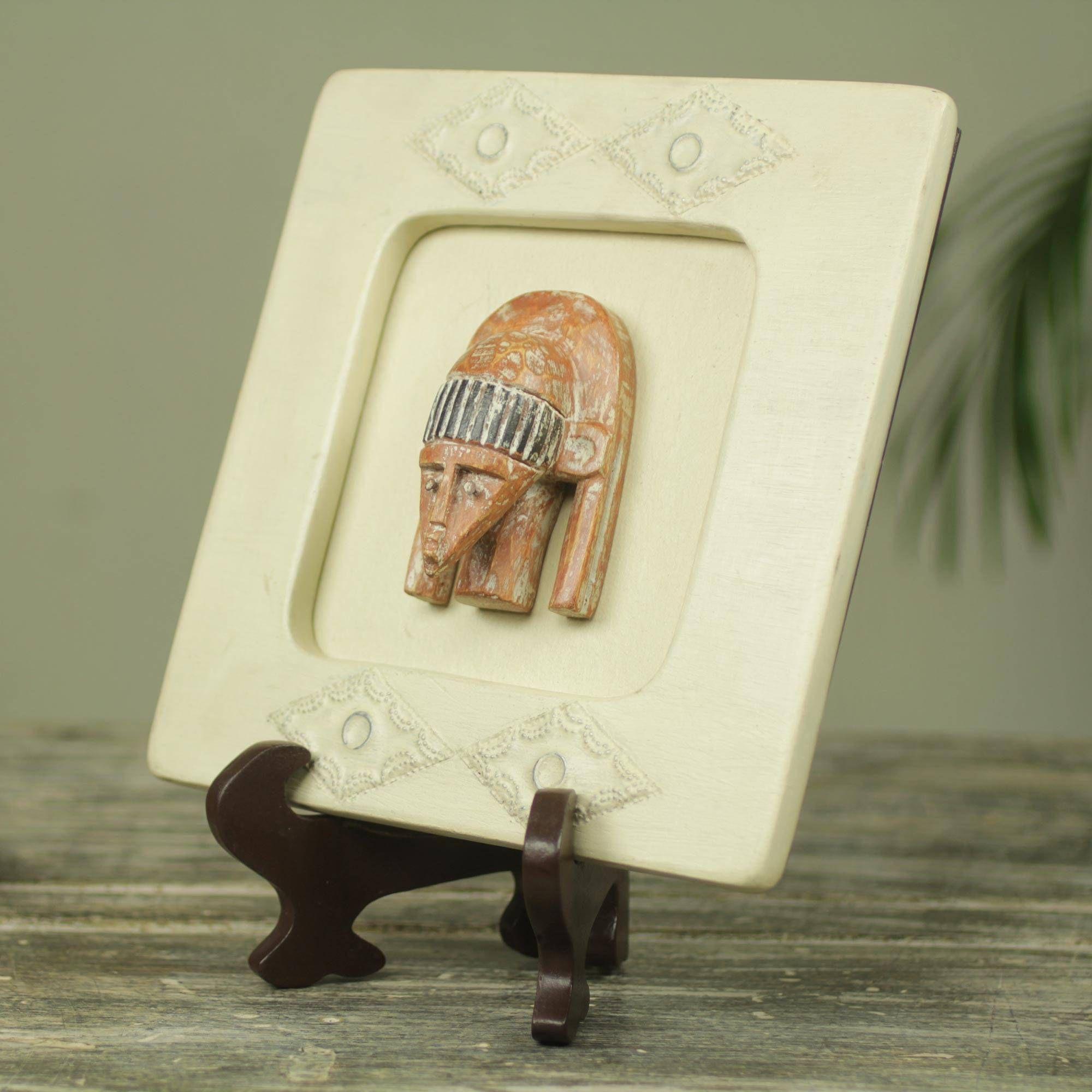 African Wood Mask Box Serene Pharaoh Wood Initials Bird Cage Decor Elephant Figurines