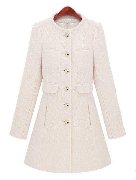 White Long Sleeve Single Breasted Pockets Coat