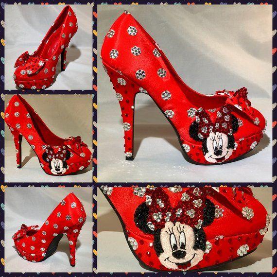 838f4610a9f Handmade Minnie Mouse wedding Heels, Minnie Mouse Polka Dot Mickey ...