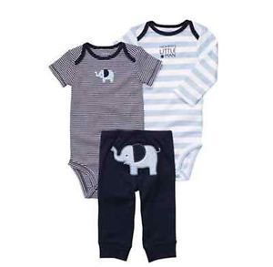 9aff289d054e NWT Carters Baby Boy Clothes 3 Piece Set Blue Elephant Nb 3 6 9 12 ...