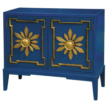 Make a statement in your entryway or foyer with this stunning hardwood chest, showcasing a blue finish accented by gold-hued raised door frames and sunburst ...