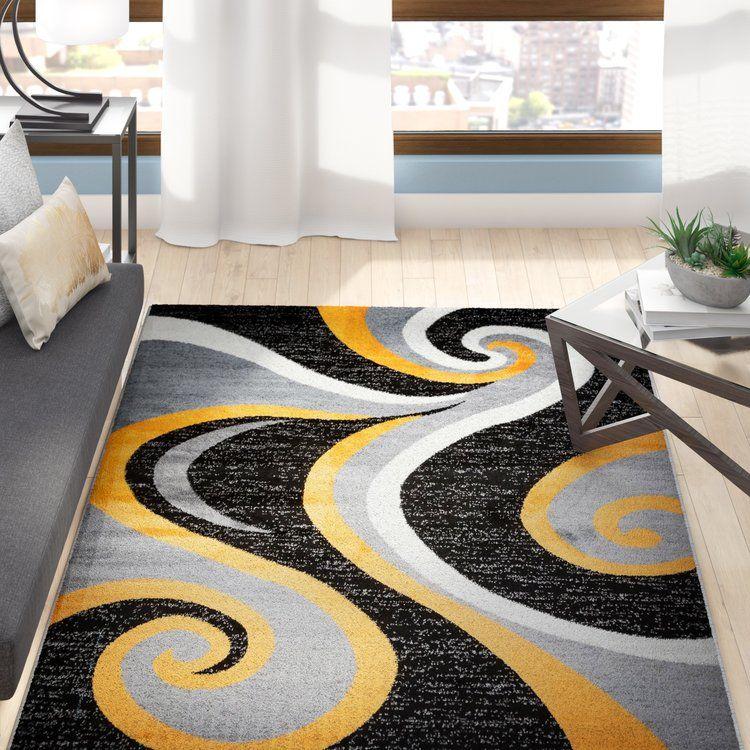 Ebern Designs Collingwood Power Loom Polypropylene Black Gray