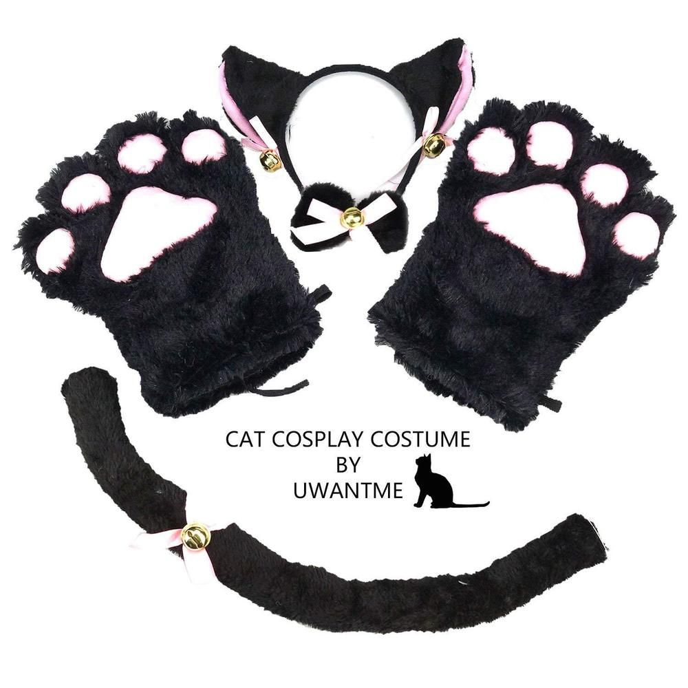 Cat Cosplay Halloween Costume Kitten Tail Ears Collar Paws And Gloves Set Black Fashion Clothing Shoes Accesso Cat Cosplay Cat Halloween Costume Paw Gloves