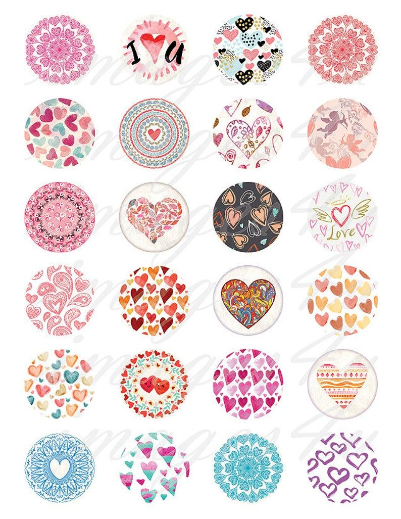 Boho Hearts 1 Bottle Cap Images Valentine Digital Collage Sheet Round Download Cabochon 30mm 25mm 1 25 1 5 Love Printable 1 Inch Circles In 2021 Etsy Printables Digital Collage Sheets Collage Sheet
