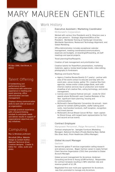 Executive Assistant  Marketing Coordinator Resume Example