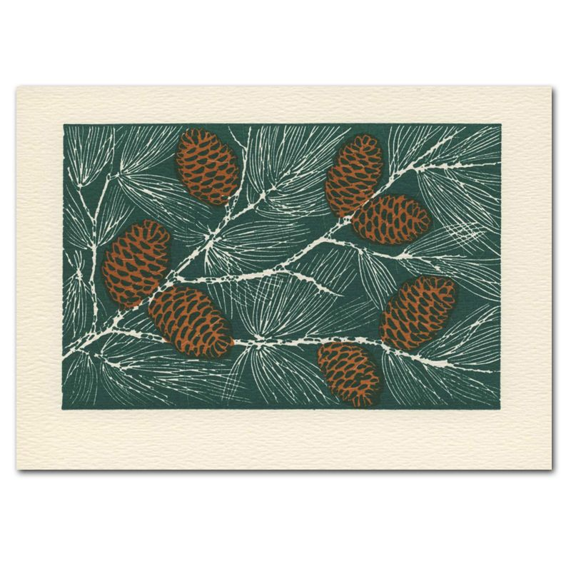 Saturn Press Holiday Card Pine Cones Letterpress Christmas Cards Letterpress Cards Letterpress Holiday Cards
