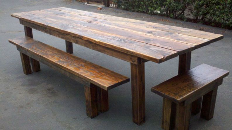 Reclaimed Wood Dining Tables Furniture Sets San Diego And Los - Distressed wood dining table with bench