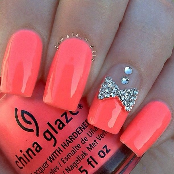 Nail nailart manicures nails pinterest manicure makeup acrylic nails pink neon french tip nail art with rhinestone bow and diamond nail designs with bows for blunt nail 2015 latest trend nail art design prinsesfo Image collections