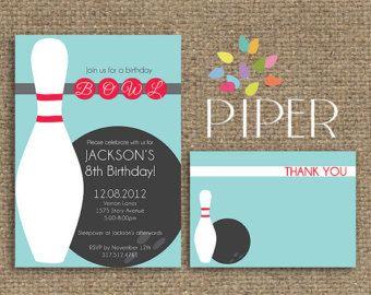 Birthday Bowling Invitation Piper Press Birthday Invitations