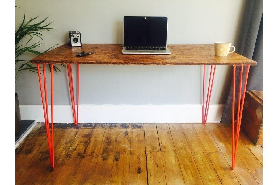 Osb Desk With Red Steel Hairpin Legs Modern desk, Desk