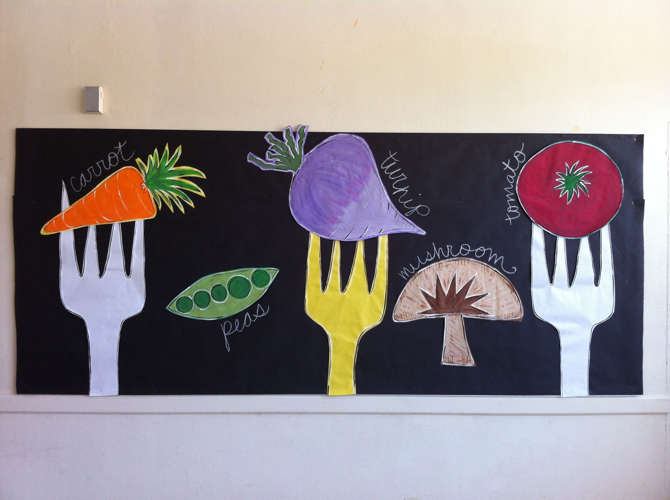 Go green vegetable bulletin board idea myclassroomideas com - Cafeteria Bulletin Board Vegetables