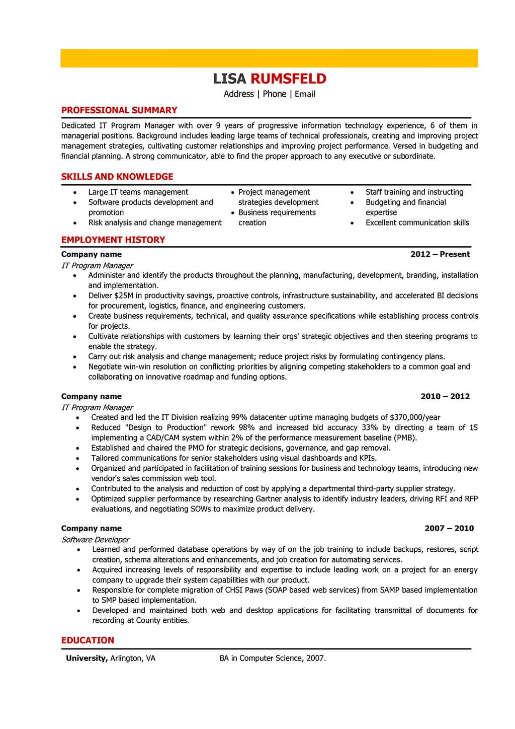 Resume Examples It Manager Resume examples, Good resume