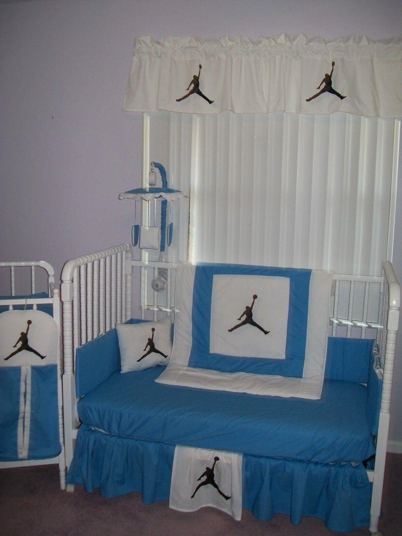 Custom made new MICHAEL JORDAN baby blue and white Crib