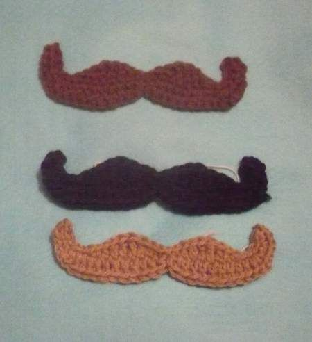 Crochet mustache. I\'m gonna put one of these on a bearded hat ...