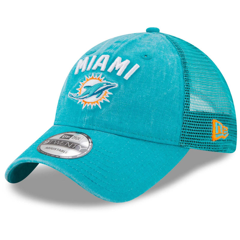 4739f904 Miami Dolphins New Era Rugged Team Trucker 9TWENTY Adjustable ...