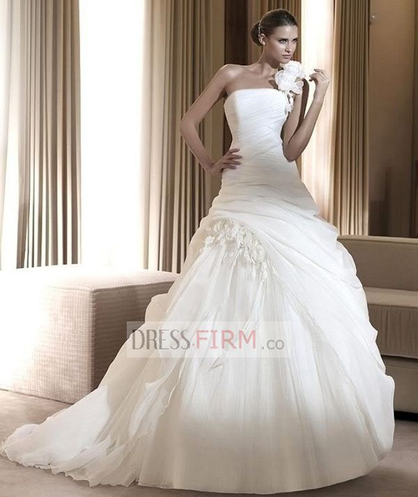 2015 Breathtaking Ball Gown Strapless Sweep Train Tulle Ruched Wedding Dresses [2015BWD-39341] - £ 123.75 :