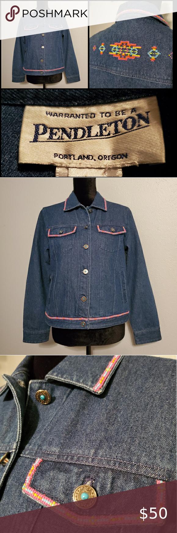 Pendleton Beaded Santa Fe Southwest Denim Jacket Pendleton Native American Fashion Denim Jacket [ 1740 x 580 Pixel ]