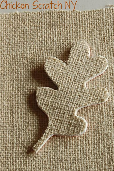 make a textured stamp out of burlap