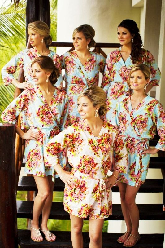 SALE Set of 6 Bridesmaids robes Kimono Crossover Robes Spa Wrap - Perfect bridesmaids  gift 7ed7d19a5
