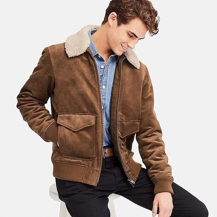 Men Lewis Jeans Jacket Real Suede Leather Brown Borg Faux ShearLing Lined Jacket