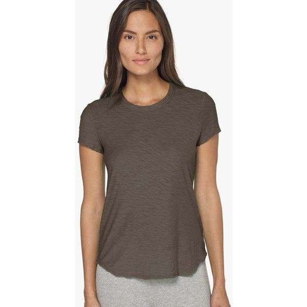 James Perse Sheer Slub Crew Neck Tee ($75) ❤ liked on Polyvore featuring tops, t-shirts, platoon, crewneck t shirt, short sleeve tops, sheer t shirt, short sleeve t shirt and james perse t shirts