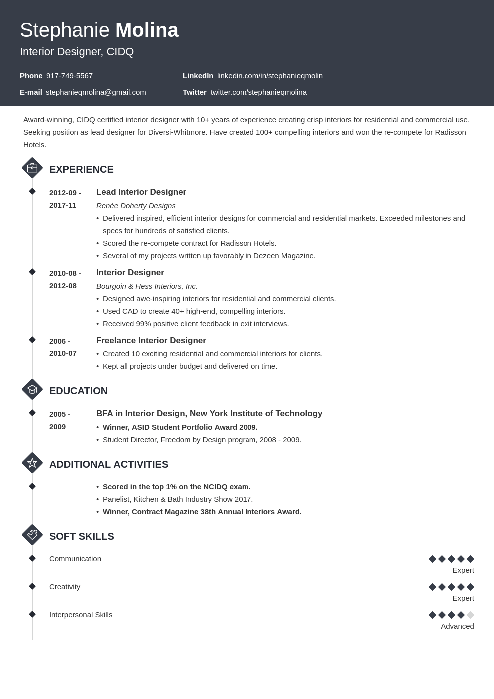 interior design resume example template diamond in 2020