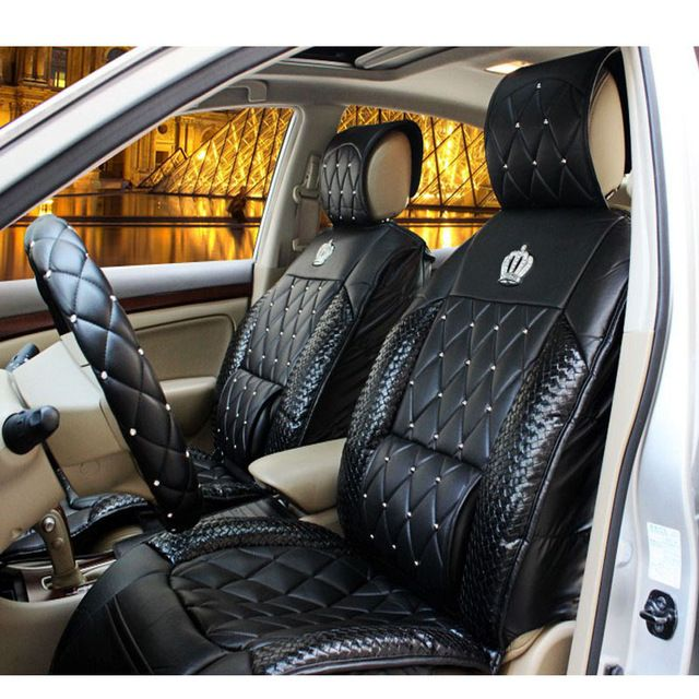 Universal Front Car Seat Covers PU Orange Cushions Auto Seat Protector for Girls