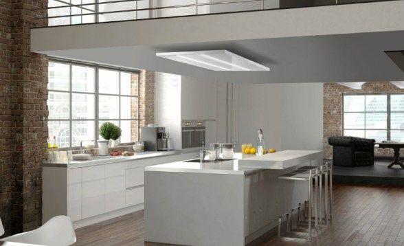 Deckenlüfter Umluft 90 keine Verkleidung, weiss, Glasabdeckung - moderne dunstabzugshauben küche