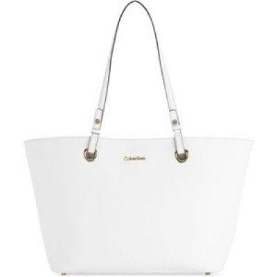 Bolsa Calvin Klein Key Item Tote Saffiano Leather (White) #Bolsa #Calvin Klein