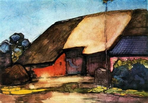 Small farm on Nistelrode -   Artista: Piet Mondrian (1872-1944) Data da Conclusão: 1904 Estilo: Post-Impressionism Género: landscape Técnica: gouache, watercolor Material: paper Galeria: Private Collection