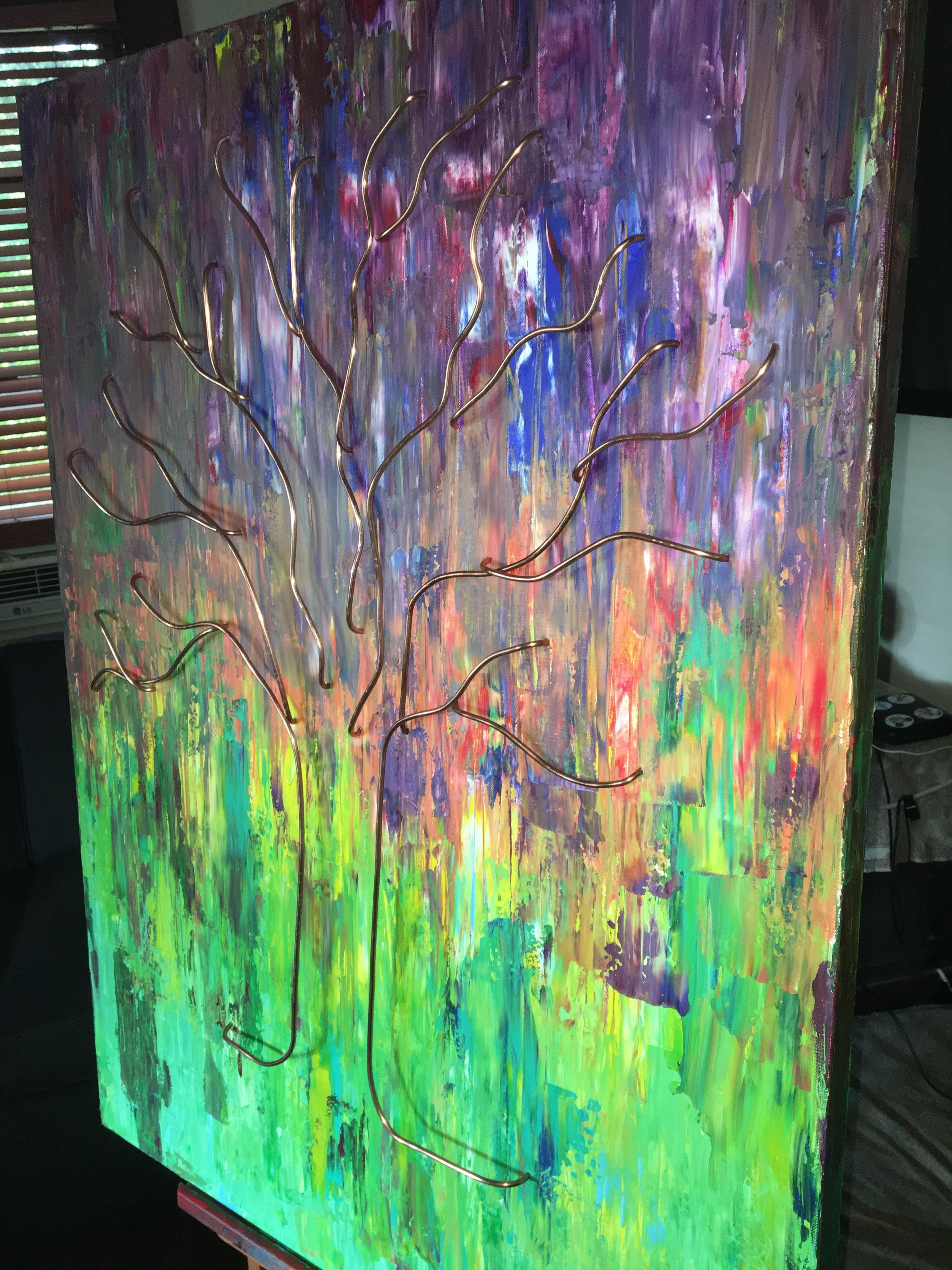 Copper tree 40x30x2 acrylic and copper wire on gallery wrapped canvas chad dustin ryter me