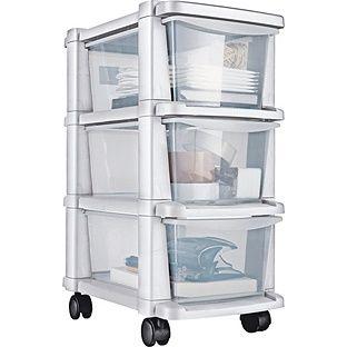 Buy 3 Drawer Slim Tower Plastic Storage Unit White At