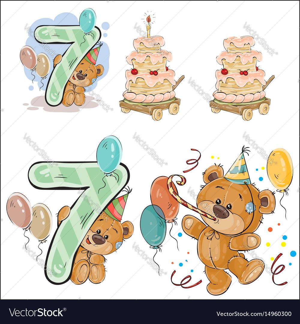 Set Of Vector Illustrations With Brown Teddy Bear Birthday Cake And