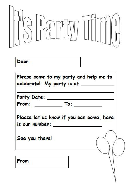 image result for party invitation coloring | birthday | pinterest, Birthday invitations