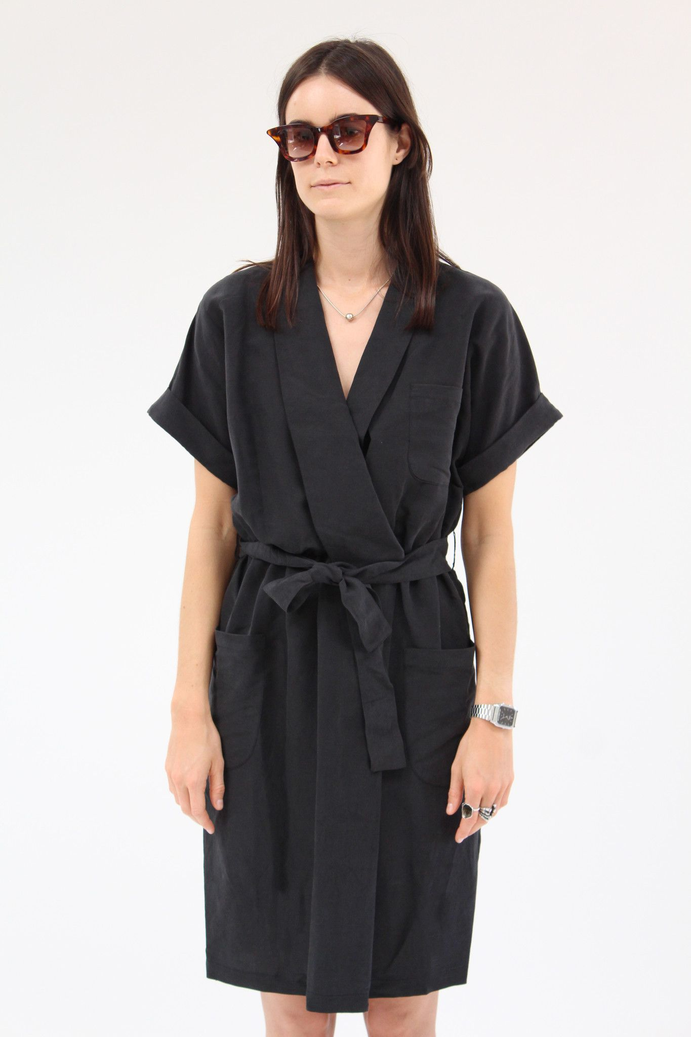 aa657741c20e Kimono inspired wrap collar, cuffed sleeves, deep pockets and gentle  elastic waist. Comes with self tie waist belt. Hand wash cold. Made in  Australia.