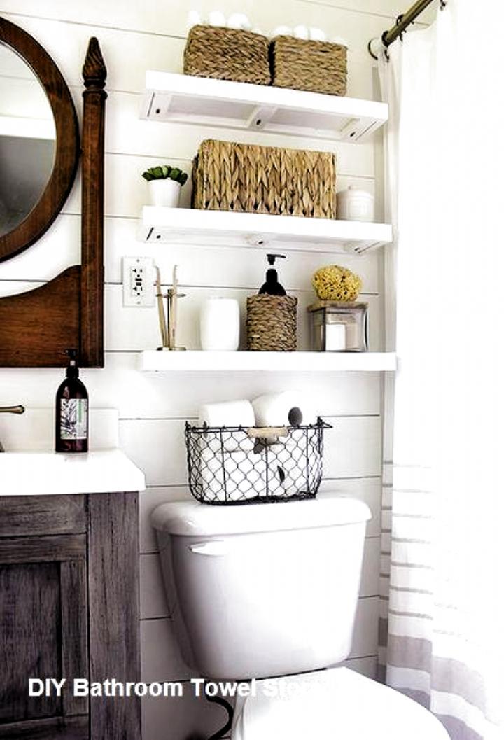 Diy Bathroom Towel Storage Ideas Towelstorage Bathroomtowelideas Bathroom Dec In 2020 Small Bathroom Storage Bathroom Remodel Small Budget Master Bathroom Makeover