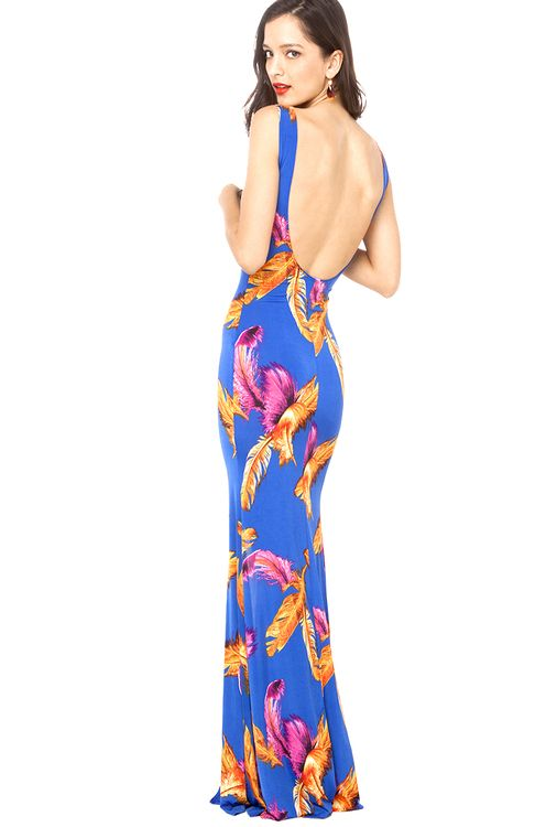 Feather Patterned Maxi Dress in Multi