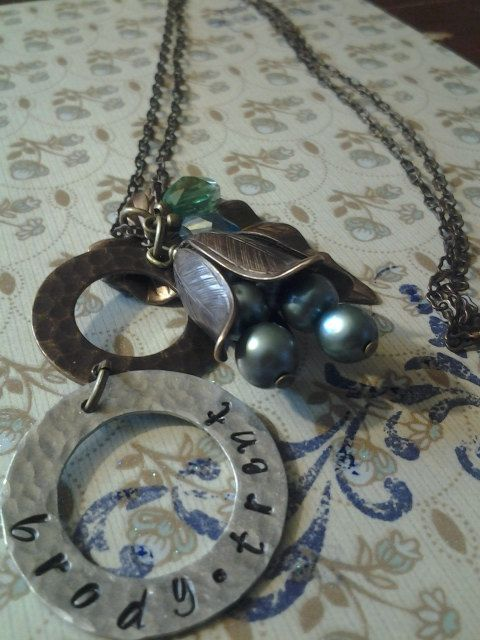 Vintage  Hand Stamped Necklace by RipsDesigns on Etsy, $40.00 can be personalized for anyone. So cute!