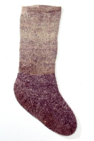 Nalbound sock from Porajärvi, Russia (near border of Finland). Year unknown. Ankle knitted, foot nalbound. Total length 46 cm, foot length 28 cm.  http://fi.wikipedia.org/wiki/Poraj%C3%A4rvi_(Aunuksen_Karjala)