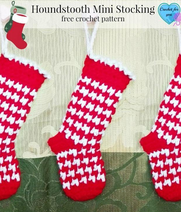 Festive Crochet Houndstooth Mini Christmas Stockings – Free Pattern ...