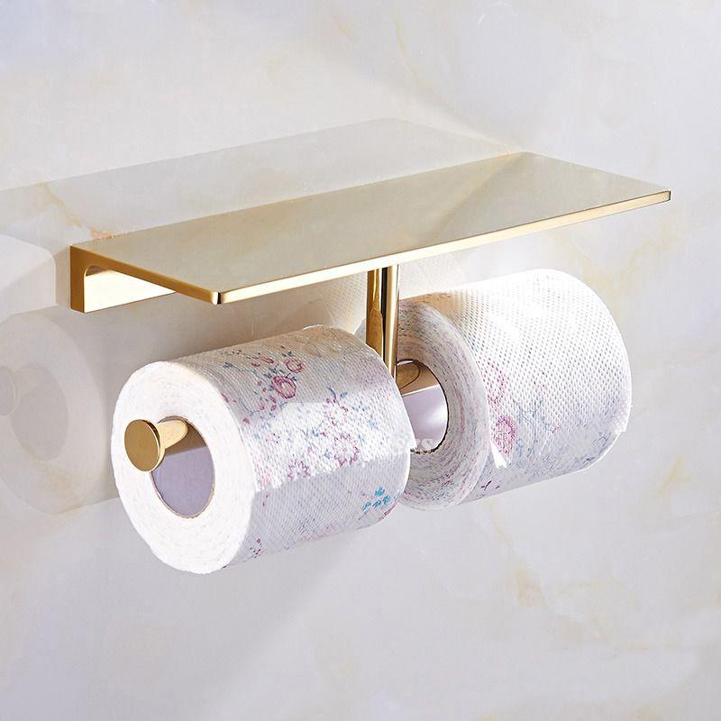Chrome Porcelain Bathroom Tissue Paper Shelf Wall Mount Paper Toilet Roll Holder