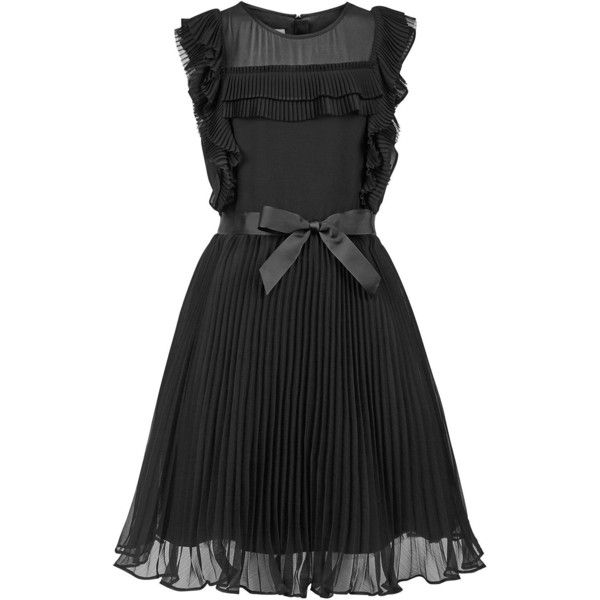 Monsoon Storm Fairen Dress (260 BRL) ❤ liked on Polyvore featuring dresses, black, fancy dresses, cocktail party dress, going out dresses, dressy dresses and ruffle dress