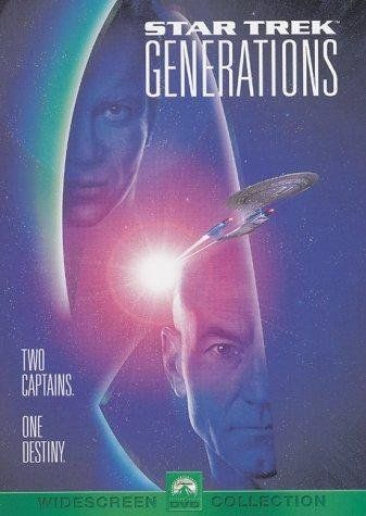 """Star Trek: Generations ~ """"Captain Picard, with the help of supposedly dead Captain Kirk, must stop a madman willing to murder on a planetary scale in order to enter a space matrix."""""""