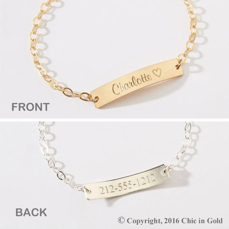 Personalized Child Id Bracelets Girl Boy Name Phone Number Date Adjustable Baby Toddler Personalized Bar 14k Gold Filled Rose Silver Cg373b Name Bracelet Engraved Baby Bracelet Baby Bracelet
