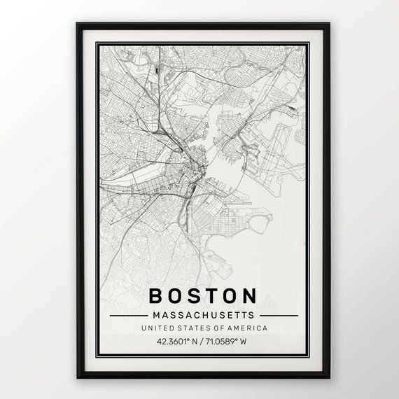 Boston City Map Print Modern Contemporary Poster In Sizes 50x70 Fit