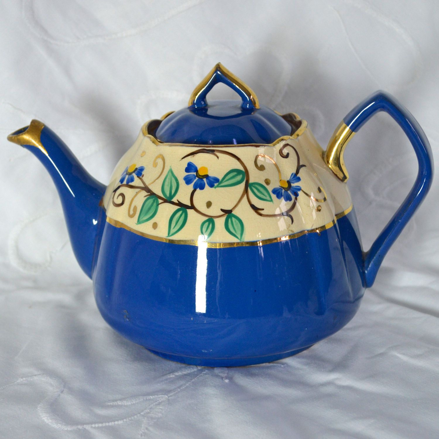 large english red ware teapot deep blue overglaze hand painted