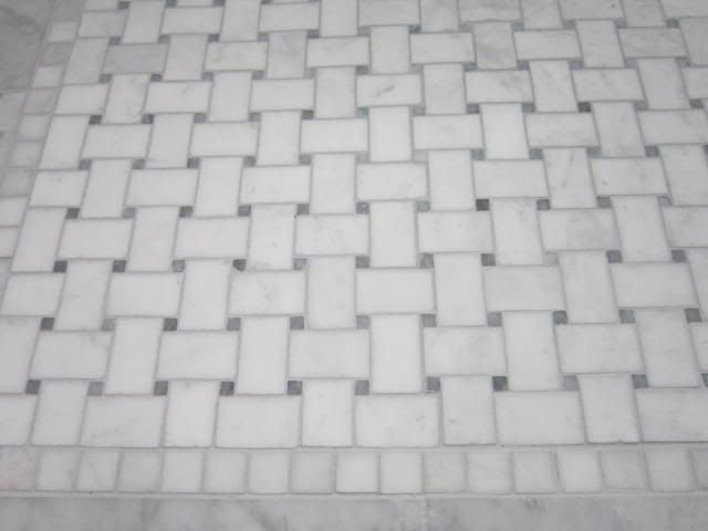 Laticrete Silver Shadow With Carrara Marble Basket Weave Tile More
