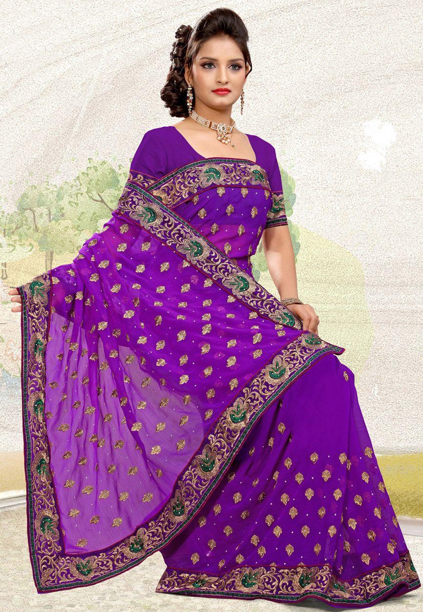 Purple chiffon http://www.utsavfashion.com/saree/purple-faux-chiffon-saree-with-blouse/sur63-itemcode